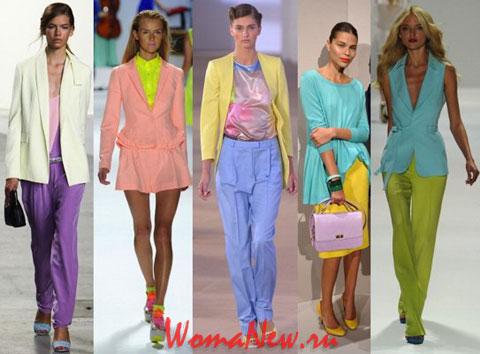 модели в цветной одежде