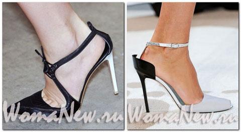чёрно белые открытые туфли