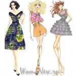 нарисованные девушки в платьях