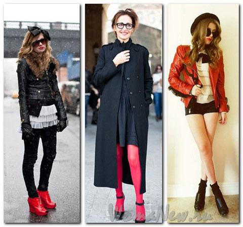 красные колготки и ботинки