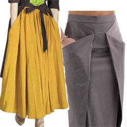 Две выкройки юбок с карманами.