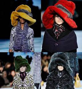 Креативные и модные шляпы из меха.