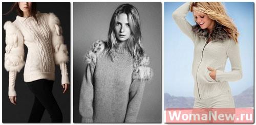 как украсить свитер мехом