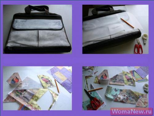 процесс декупажа сумки