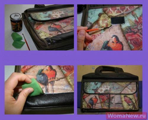 как сделать декупаж сумки