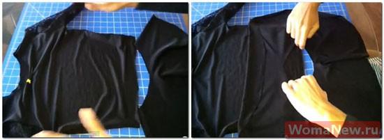 пришить баску к блузе