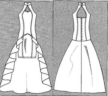 Фото выкроек платьев со шлейфом