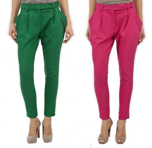 женские брюки с фигурным поясом