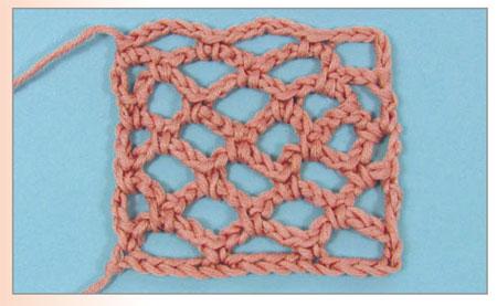 пример вязания французской сетки крючком