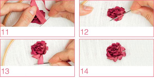 комбинированная роза лентами вышивка