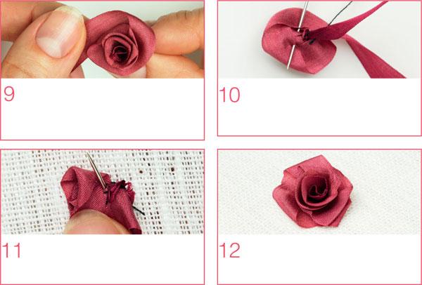 мастер класс вышивка розы из лент