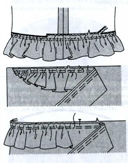как пришить оборку