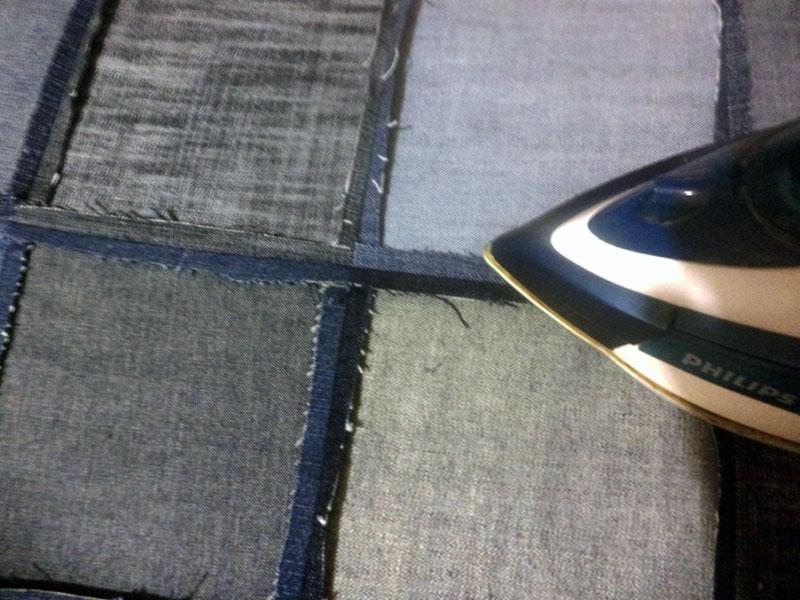 покрывало из джинсовых квадратов