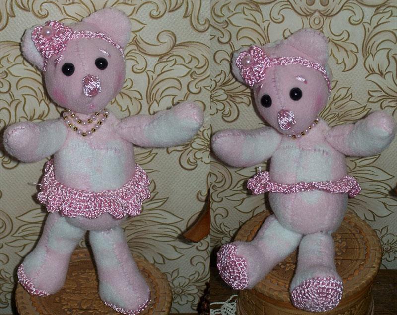 Как сшить розового медвежонка из флиса