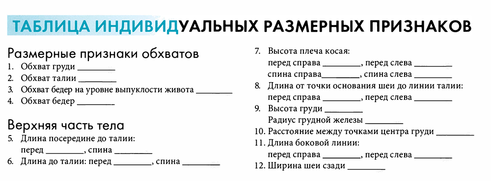 таблица индивидуальная