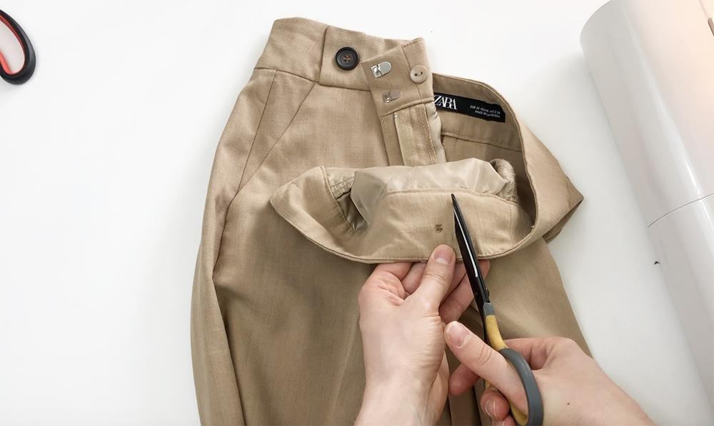 как ушить брюки в талии